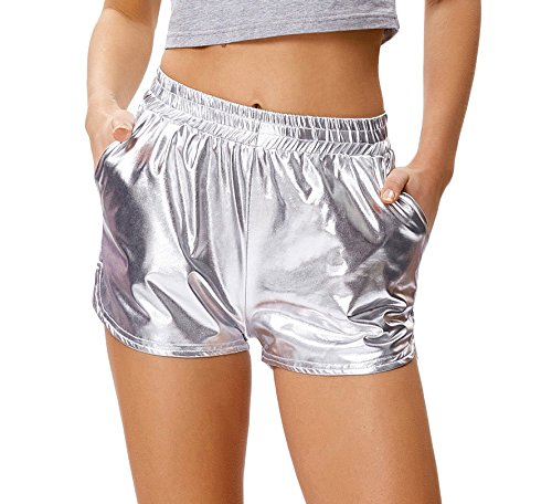 Kate Kasin Women's Metallic Pants Sexy Hot Shorts (M,Silver) - Metallic Hot Short