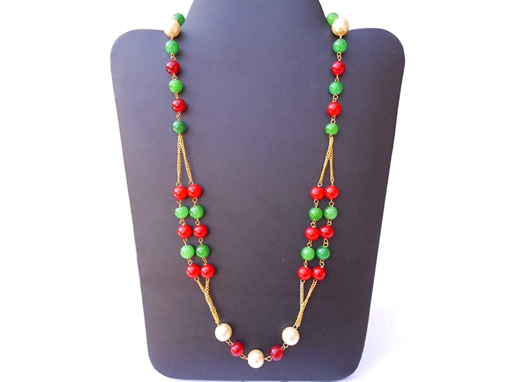 Ethnic Traditional Handmade Antique Golden Plated Pearl Metal Stone Necklace 2409/_09