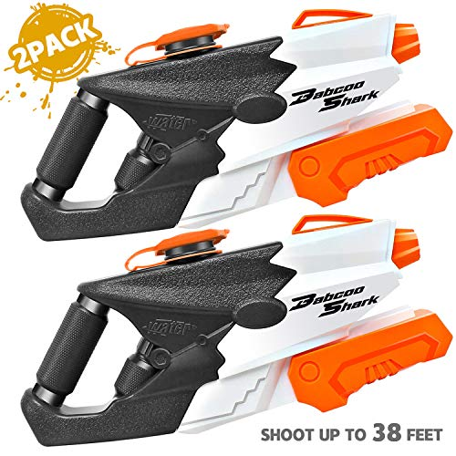 BABCOO 2 Pack Squirt Guns Water Guns for Kids Adults, 37oz High Capacity Blaster Squirt Toy Summer Water Blaster Toy for Swimming Pools Party Outdoor Beach Sand Water Fighting -
