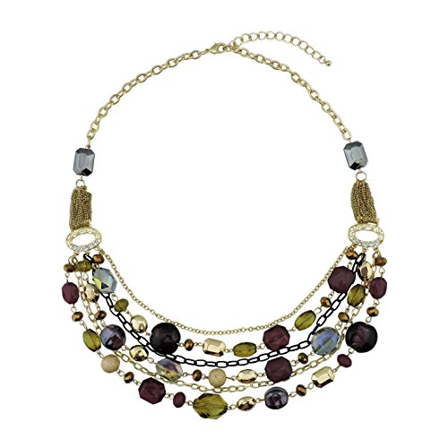 Bocar Newest Multi Layer Chain Crystal Colored Glaze Statement Women Necklace ()