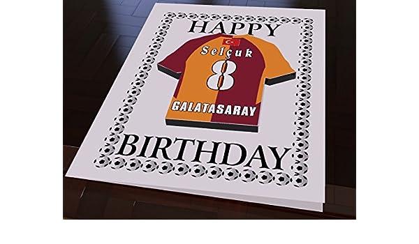 tarjetas de cumpleaños de los Equipos de la liga de campeones de la UEFA, con diseño de Camiseta de fútbol, personalizable, color Galatasaray FC Football ...