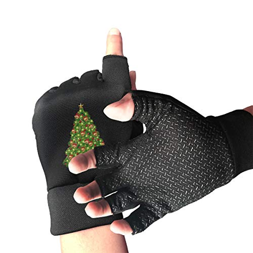 Kjiurh Unisex Fingerless Gloves Christmas Tree PNG Clipart-14 Sports Semi Half Finger Mittens for Cycling Climbing Fitness Computer Typing Daily -