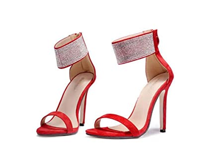 322ba041d791e0 Women Pump 11cm Stiletto Open Toe D orsay Ankel Straps High Heel Sandals  Dress Shoes Charming Pure Color Zipper Rhinestone Bling Wedding Shoes OL  Party ...