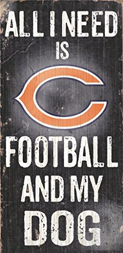 - Chicago Bears Wood Sign - Football And Dog 6''x12''