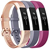 Vancle Bands Replacement for Fitbit Alta HR and Fitbit Alta (3 Pack), Newest Sport Replacement Wristbands with Secure Metal Buckle for Fitbit Alta HR/Fitbit Alta (Rose-Gold Gray Fuchsia, Small)