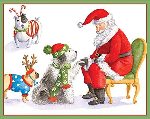 entertaining with caspari waiting for santa christmas cards box of 16 - Caspari Christmas Cards