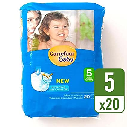 Carrefour bebé Ultra Dry Pull On tamaño 5, bolsa de transporte, 20 unidades por