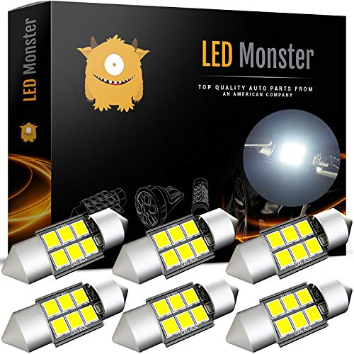 LED Monster 6-Pack 6 SMD 31mm LED Bulb CANBUS 3030 Festoon White Color Chipset Error-Free Festoon Lights Map Dome Door Light for DE3175 DE6428 ()