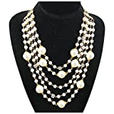 MeliMe Womens Faux Pearl Multi-Strand Necklace White 01 Deal (Small Image)