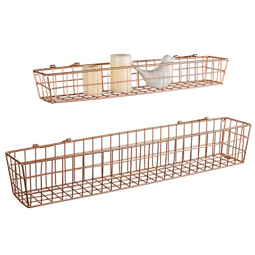 MyGift Wall-Mounted Copper-Tone Metal Mesh Storage Baskets, Set of 2 (Copper Hanging Baskets)