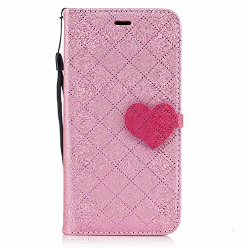 Yiizy Huawei P10 Lite Custodia Cover, Amare Design Sottile Flip Portafoglio PU Pelle Cuoio Copertura Shell Case Slot Schede Cavalletto Stile Libro Bumper Protettivo Borsa (Rosa)