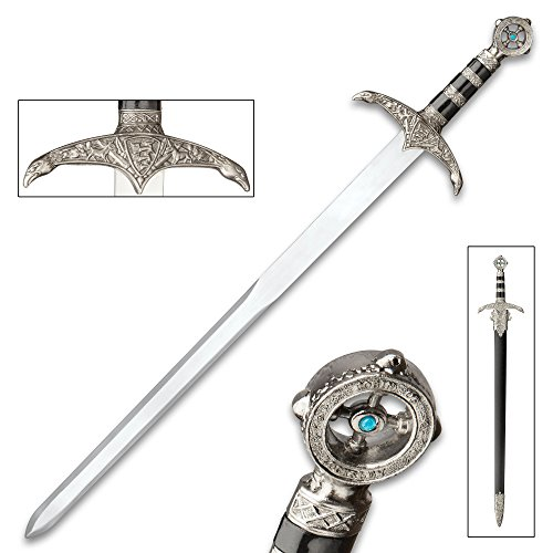 (Robin Hood Sword of Locksley - Stainless Steel Display Sword - Ornate Hilt, Eagle Crossguard - Robin of Locksley, Earl of Huntington Blue Jewel Pommel - Matching Scabbard - Medieval Middle Ages - 29