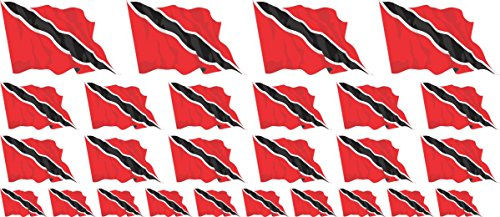 (Mini Sticker Pack waving - 4x 51x31mm+ 12x 33x20mm + 10x 20x12mm- Self-Stick - Trinidad & Tobago - Self-Adhesive - Flag Decals - for Car, Office and Home - Set of 26)