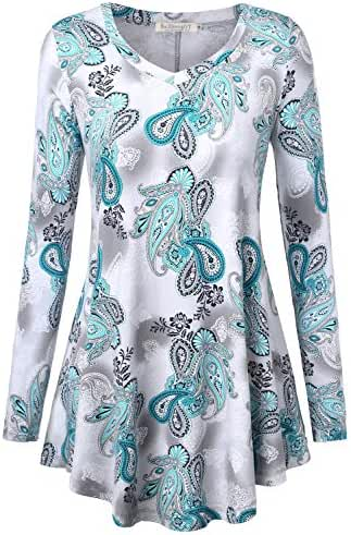 BAISHENGGT Women's Long Sleeve Flared Tunic Top