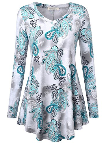 BAISHENGGT Women's Loose Fit Flared Tunic Top X-Large T06 Green (Womens Jumper Dress Flower)