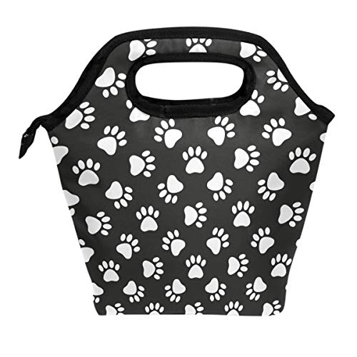 Lunch Tote Bag Dog Puppy Pet Paw In Black Background Insulated Cooler Thermal Reusable Bag, Funny Paw Dog Lover Decor Lunch Box Portable Handbag for Men Women Kids Boys -