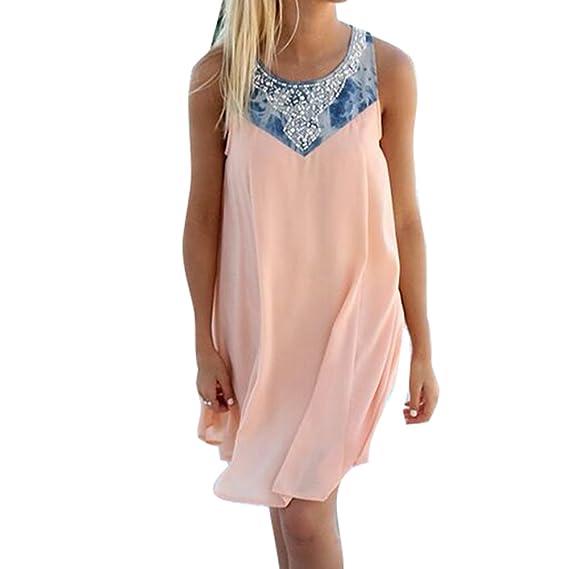 Juleya Boho Damen Sommerkleider Chiffon Perle Kleider Longshirt Frauen Kurze Kleider Strandkleid Minikleid Ärmellos Damenklei