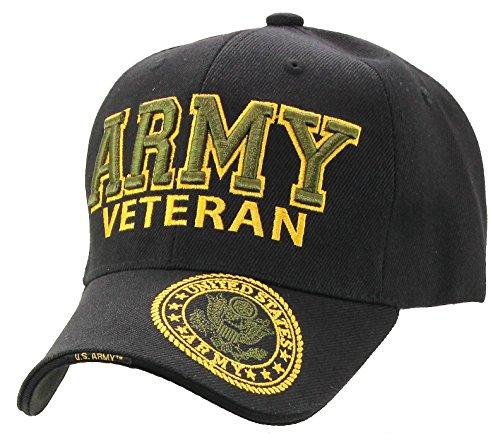 Logo Military Hat (U.S. Military Cap Hat Army Veteran Green Logo Baseball Cap (Black Veteran))