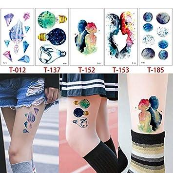 HXMAN 5 Piezas/Conjunto Tiny Watercolor Animal Tattoo T Geometría ...