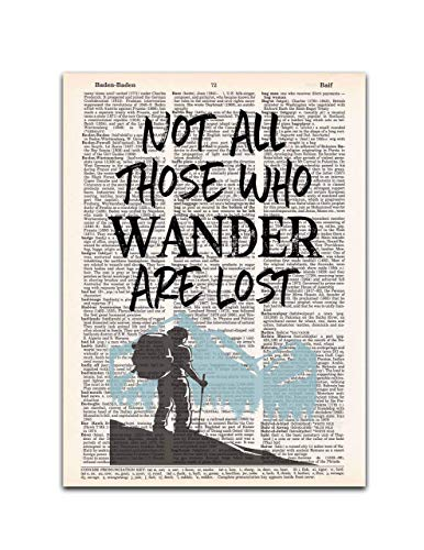 Not All Those Who Wander are Lost, Dictionary Page Art Print, 8x11 inches, Unframed