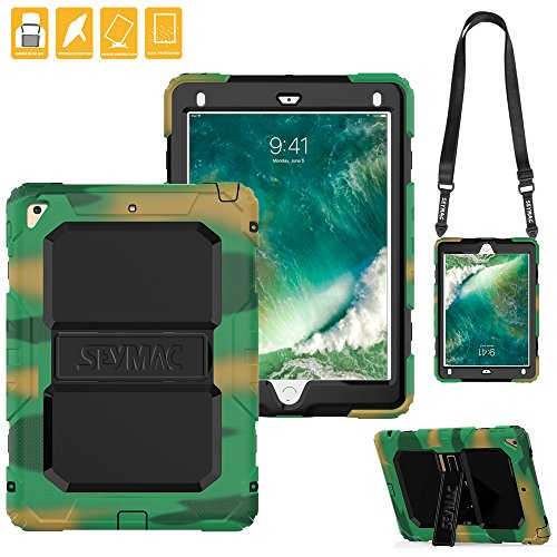 Camouflage Black Silicone (iPad 2017/2018 Case,SEYMAC Heavy Duty Soft Silicone Hard Bumper Kickstand Shockproof Protective Case [Shoulder Strap] for New iPad 2017 2018 9.7''/iPad Air 2/iPad Pro 9.7 2016(Camouflage/Black))
