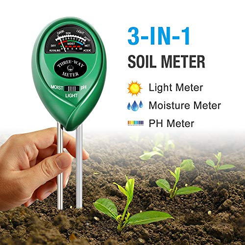 Atree Soil pH Meter, 3-in-1 Soil Tester Kits with Moisture,Light and PH Test for Garden, Farm, Lawn, Indoor & Outdoor (No Battery - Moisture Soil Measure