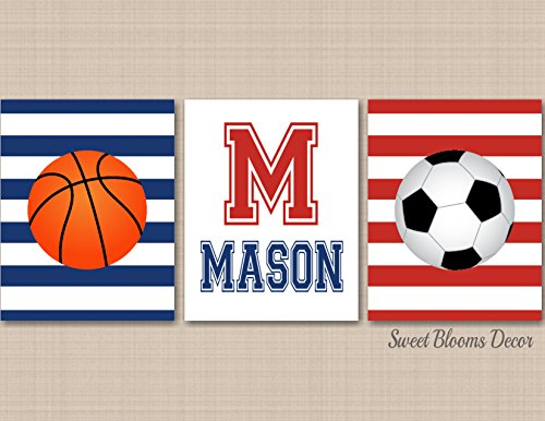 Sports Nursery Wall Art Basketball Soccer Kids Room Decor Red Navy Blue Monogramm- UNFRAMED 3 PRINTS (NOT CANVAS)C498