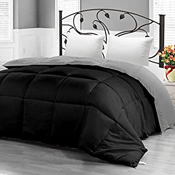 Ultra Soft Reversible Down Alternative Comforter Twin-Black/Grey - All Season Comforter and Year Round Comfort - Microfiber and Box Stitched, 3D Hollow Siliconized Filling - Utopia Bedding