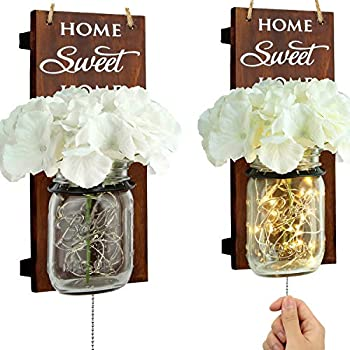 B4Life Rustic Wall Sconce - Mason Jar Wall Sconce, Rustic Home Decor with Pull Chain Switch, Silk Hydrangea and LED Strip Lights Design for Home Decoration (Set of 2)
