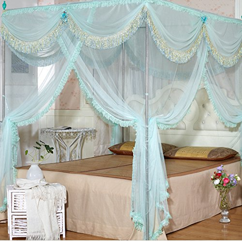 bluee 120200 bluee 120200 YL Luxury Palace Square Top Stainless Steel Floor-Style Three-Door Mosquito Nets , bluee , 120200,bluee,120200