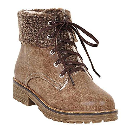 Mee Shoes Damen Niedrig Plateau kurzschaft Stiefel Hellbraun