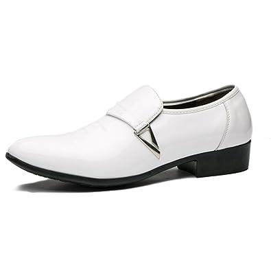 a593a82d045f0d Feidaeu Derby Homme Chaussures de Ville Sans Lacets Vernies Brillantes Designer  Italien Cuir Daim Habillées Élégantes