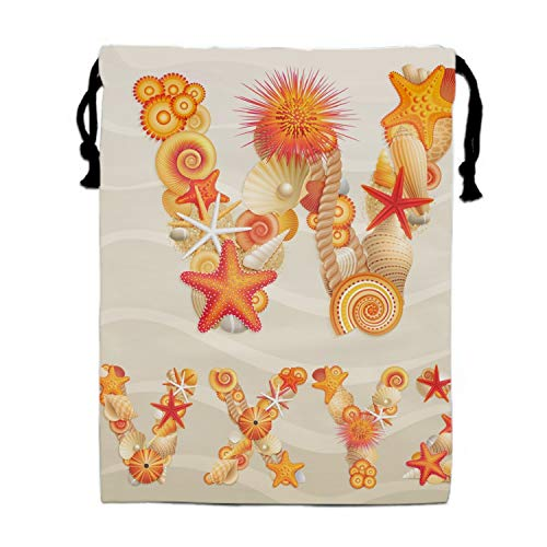 Sea Life W Drawstring Bags Party Favors Bags(1 Pack), Personalised Birthday Fabric Party Goodie Bag Gift for Kids Boys & Girls
