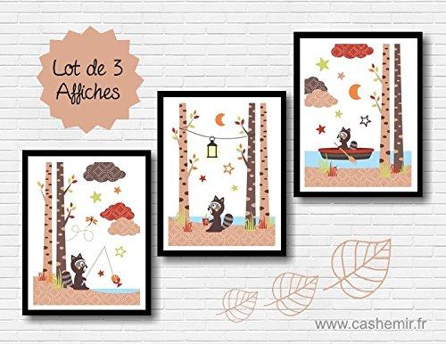 Affiches Décoration Chambre Bébé Garçon Illustration Poster Enfant  Décoration Murale Raton Laveur Chocolat Marron Beige Rouge