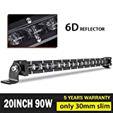 Jiuguang 20inch 90W Single Row Led Light bar CREE LEDs 6D Lamp Cup off road lights for Jeep, Cabin, Boat, SUV, Truck, Atv, Driving Lights (90W)
