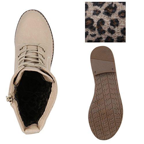 Stiefelparadies Damen Schnürstiefeletten Zipper Nieten Schuhe Strass Schnürschuhe Boots Coole Leder-Optik Schnürer Flandell Creme