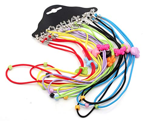 Maxloom Colorful Cartoon Adjustable Reading Glasses Eyewear Eyeglass Cord Neck Strap for Kids 12pcs/pack 45cm/17.5in (Kids Eyeglasses Cords)