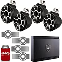 Wet Sounds for Mastercraft 2007 & Up - Two Pairs Of REV10 10 Black Swivel Tower Speakers with Adapters & SD2 Amplifier
