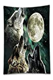 camaro boot cover - Beshowereb Fleece Throw Blanket Fierce Animal Three Wolf Dreamy Fantacy Blurred Galaxy Moon Background Personalized Custom Soft Pillow Case Cover (One Side).jpg