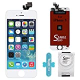SANKA iPhone 5 LCD Screen Replacement White, Digitizer Display Retina Touch Screen Glass Frame Assembly for iPhone 5 - White (Free Tools Included)