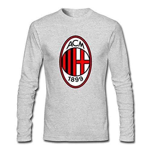 Man Ac Milan Custom Retro Size XL Color HeatherGray Long Sleeve T-Shirt By Mjensen