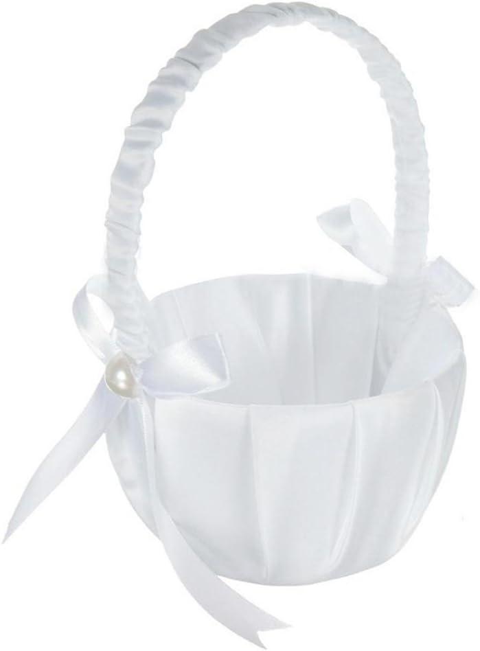Dewdropy Weissen Satin Perlen Hochzeit Blumenmaedchen Korb Bowknot Dekor