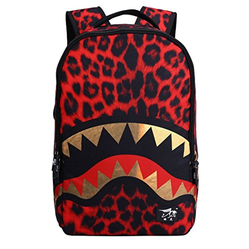 Hydne Womens / Mens Fashionable Personality Unique Fantastic 3D Pattern Casual Bags Teenager Student Backpack Outdoor Travel Bags(RedShark) (Outdoor Lifestyle Furniture Manufacturers)