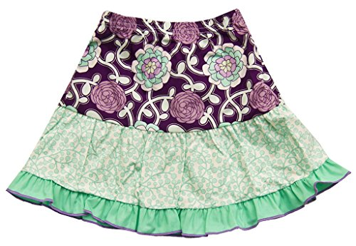 (Cheeky Banana Little Girls Mod Ruffle skirt Size 4 Aqua/Plum)