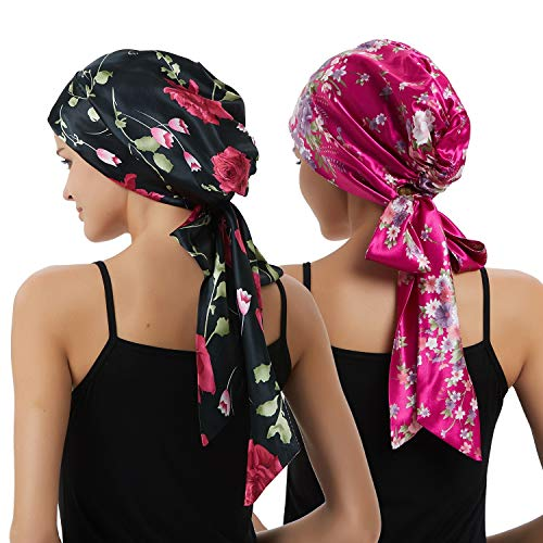 (Women's Head Scarf Multifunctional Headwear for Cancer Chemo Hair Loss Sleeping Night Cap Cotton/Satin Headwraps)