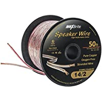 High Performance 14 Gauge Speaker Wire, Oxygen Free Pure Copper - UL Listed Class 2 (50 Feet Spool)