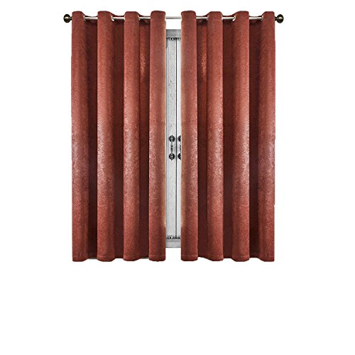 SUO AI TEXTILE Suede Curtains Grommet for Living Room Window 2 Panels (52x63,Terracotta)