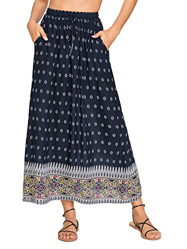 Milumia Women's Boho Vintage Print Pockets A Line Maxi Skirt Multicolor-7 XXL (Best A Line Skirts)