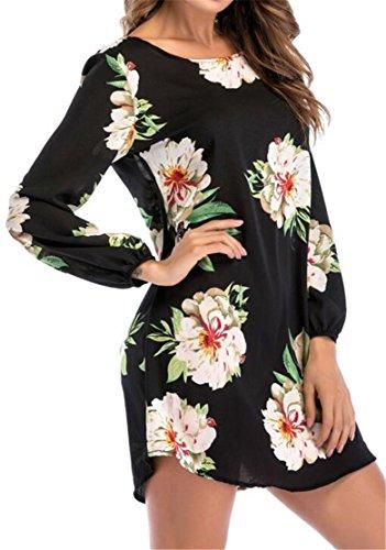 Shirts Stylish Long Women Blouse Crewneck Dress Black Cromoncent T Print Sleeve Top zwq1B5