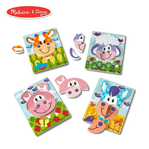 - Melissa & Doug First Play Farm Animals Wooden Chunky Jigsaw Puzzle Set (4-Pack, 6-8 Pieces)